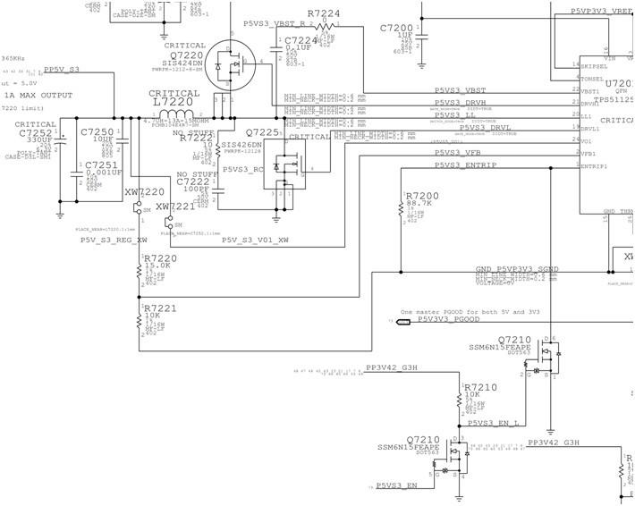 6脚ENTRIP2受控于Q7211,最终受控于P3V3S5_EN。(TPS51125的6脚定义是直接接地关闭输出,通过电阻接地作为过流限制设定脚,如果P3V3S5_EN为低电平,Q7211的6-1脚截止,3-4就会导通,拉低ENTRIP2,关闭输出;如果P3V3S5_EN为高电平,Q7211的6-1脚导通,3-4脚截止,TPS51125内部给ENTRIP2提供上拉,与R7206分压成高电平开启芯片,并设定过流限值。)  TPS51125的ENTRIP2的门槛值: