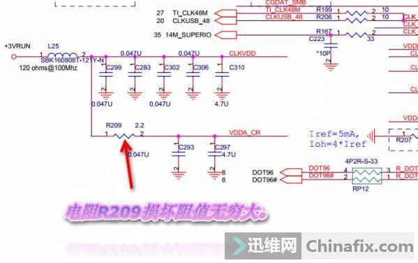 机器:联想FA30 广达代工 接可调电源上电电流到0.48A,根据电流情况来看,测量各供电电压已经都有了,看来可能是CPU没工作,经测量供电正常,就是CPU的复位信号H_CPURST#没有出来。见下图:  大家都知道H_CPURST#也就是CPU的复位信号是由北桥发出的,北桥要发出CPU的复位信号那么南桥要发出复位信号来复位北桥。见下图:  北桥接到南桥送来的复位信号才会发出H_CPURST#来复位CPU,经测量南桥并没有输出复位信号给北桥,很明显南桥没有正常复位。接下来直接量南桥的工作条件,南桥要正常工