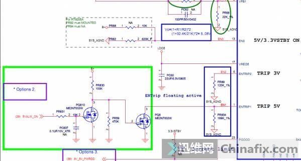 由图纸可以看出,EN0(总开启)悬空用于开启3/5V线性。(3/5V线性已经正常),ENTRIP2外部接一个120K的电阻到地用于自动开启3.3V的PWM并且设定极限电流ENTRIP1却受控于5VALW_ON