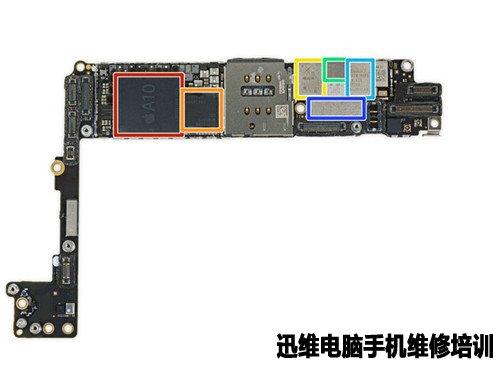 维修技术 手机拆机教程       红色:苹果a10 fusion soc apl1w24 和三