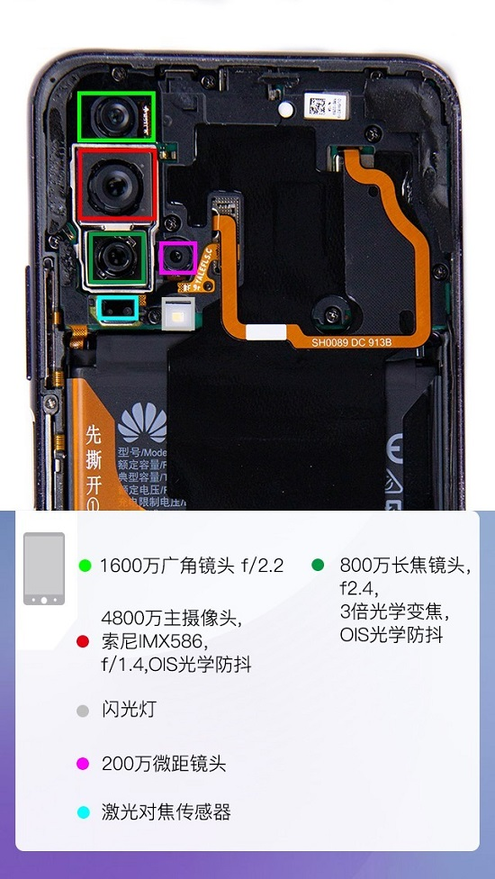 手机电池再利用_荣耀20 PRO拆解图文教程_迅维电脑维修培训